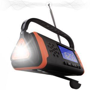 Emergency Solar Crank Radio with LCD Display with AM/FM, Flashlight, Aux Port, and 4000mAh Power Bank - Black/Orange IPX3